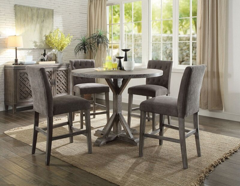 Acme 71865 62 5 Pc Carmelina Weathered Gray Oak Finsh Wood Counter Height Round Dining Table Set Counter Height Table Sets Round Dining Table Sets Counter Height Dining Sets