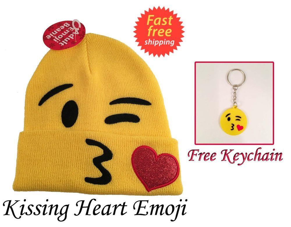 005c507eea4 Adult Kissing Heart Emoji Beanie Hat New with tags FREE MATCHING KEYCHAIN   Walmart  Beanie