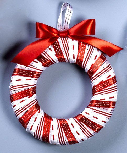 Ribbon Wreath Ornaments Christmas Crafts Pinterest Party