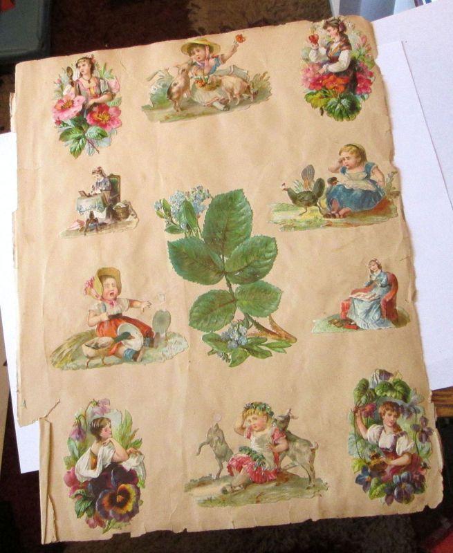 OLD VINTAGE VICTORIAN GERMAN FLOWERS PETS CHILDREN PEOPLE SCRAPS DIE CUTS PAGE