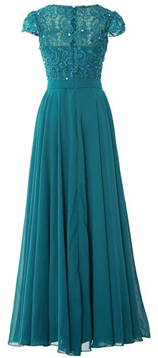 MACloth Women Cap Sleeve Mother of Bride Dress Vintage Lace Evening Formal  Gown (2,