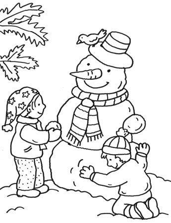 Coloriages d 39 hiver on fait un bonhomme de neige - Coloriage d un enfant ...