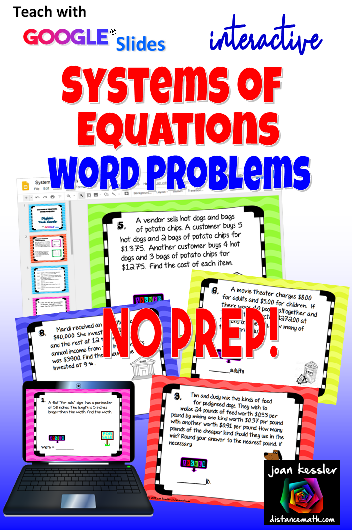 Systems of Equations Word Problems with Google Slides