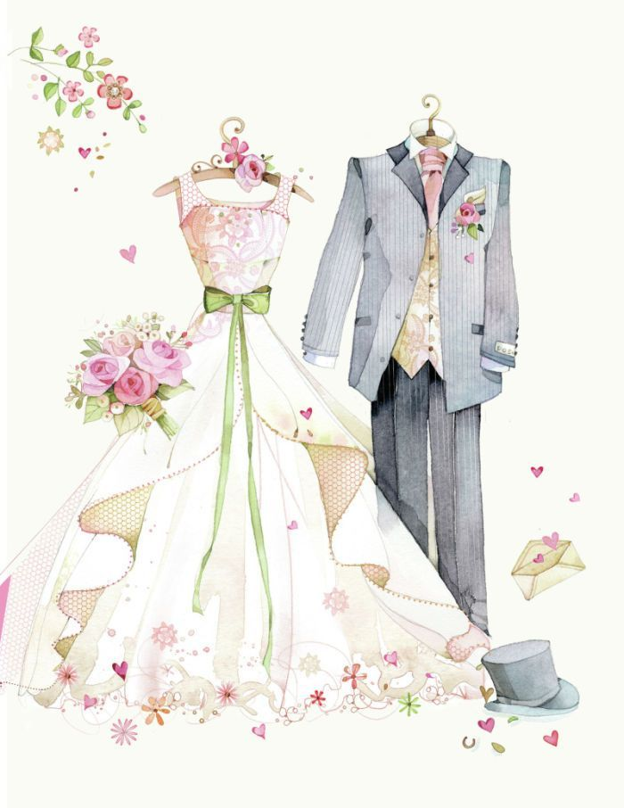 Открытка с годовщиной свадьбы рисованная, втб