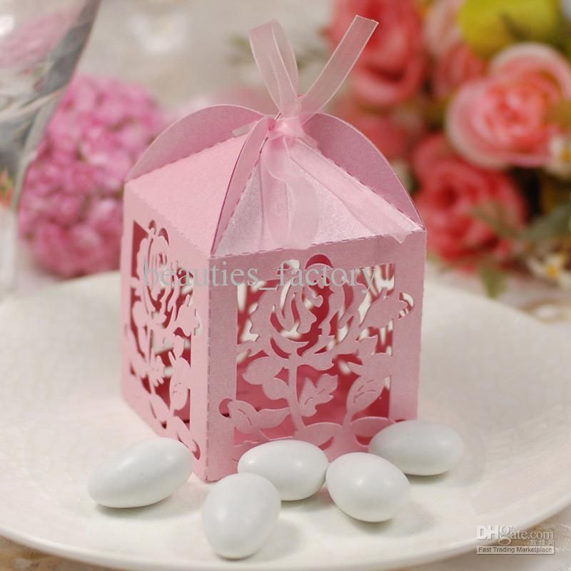 50 Pcs Romantic Rose Candy Boxes Pink Hollow Elegant Wedding Favors
