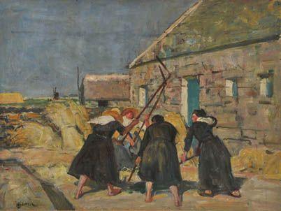 """Lucien Simon (1861-1945), """"Battage des blés aux fléaux"""""""