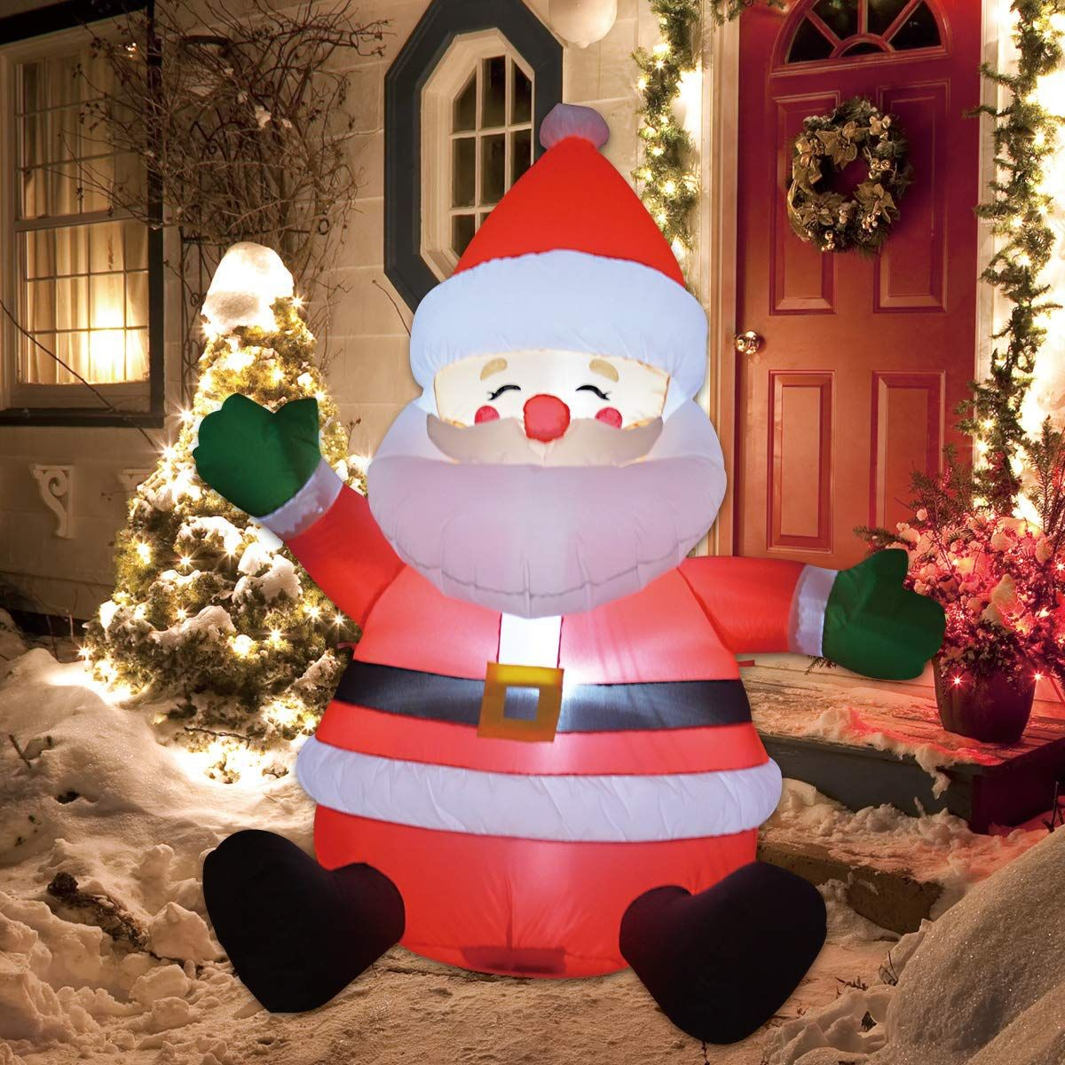 GOOSH 5 FT Christmas Inflatable Santa Claus LED Lights
