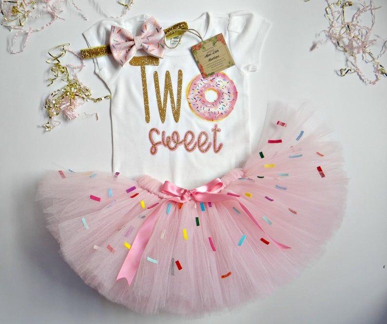 Two Sweet Donut Birthday girl tutu set Girls Donut 2nd