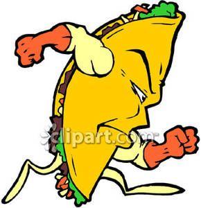 Taco running. Cartoon royalty free clipart