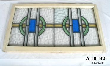 Window Wood Ripple Glass Stained Insert Panels Art Deco Style
