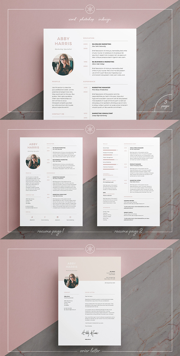 professional resumecv and cover letter template with a fresh modern design resume