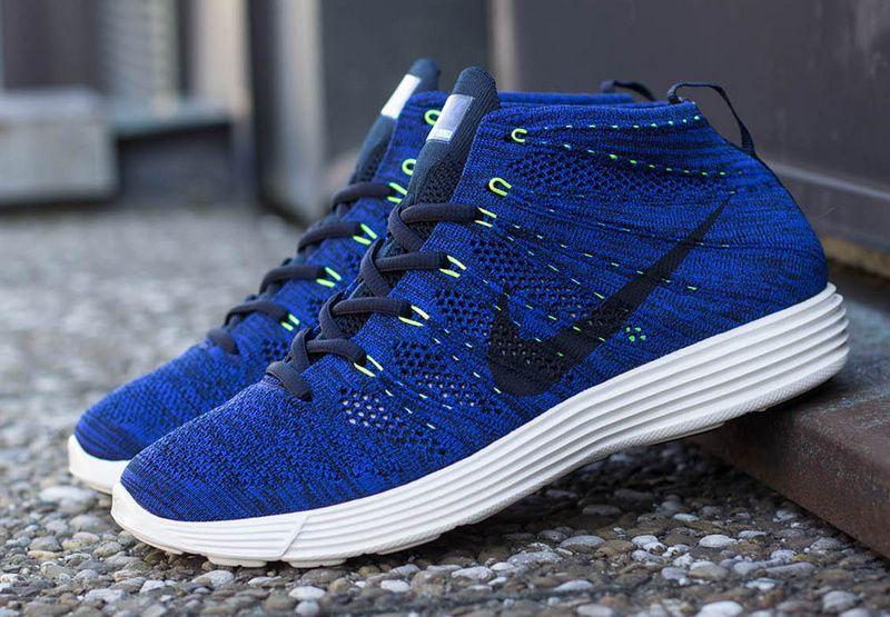 8f84b26093b5 Nike Lunar Flyknit Chukka Mens Shoes Dark Obsidian Game Royal Blue ...