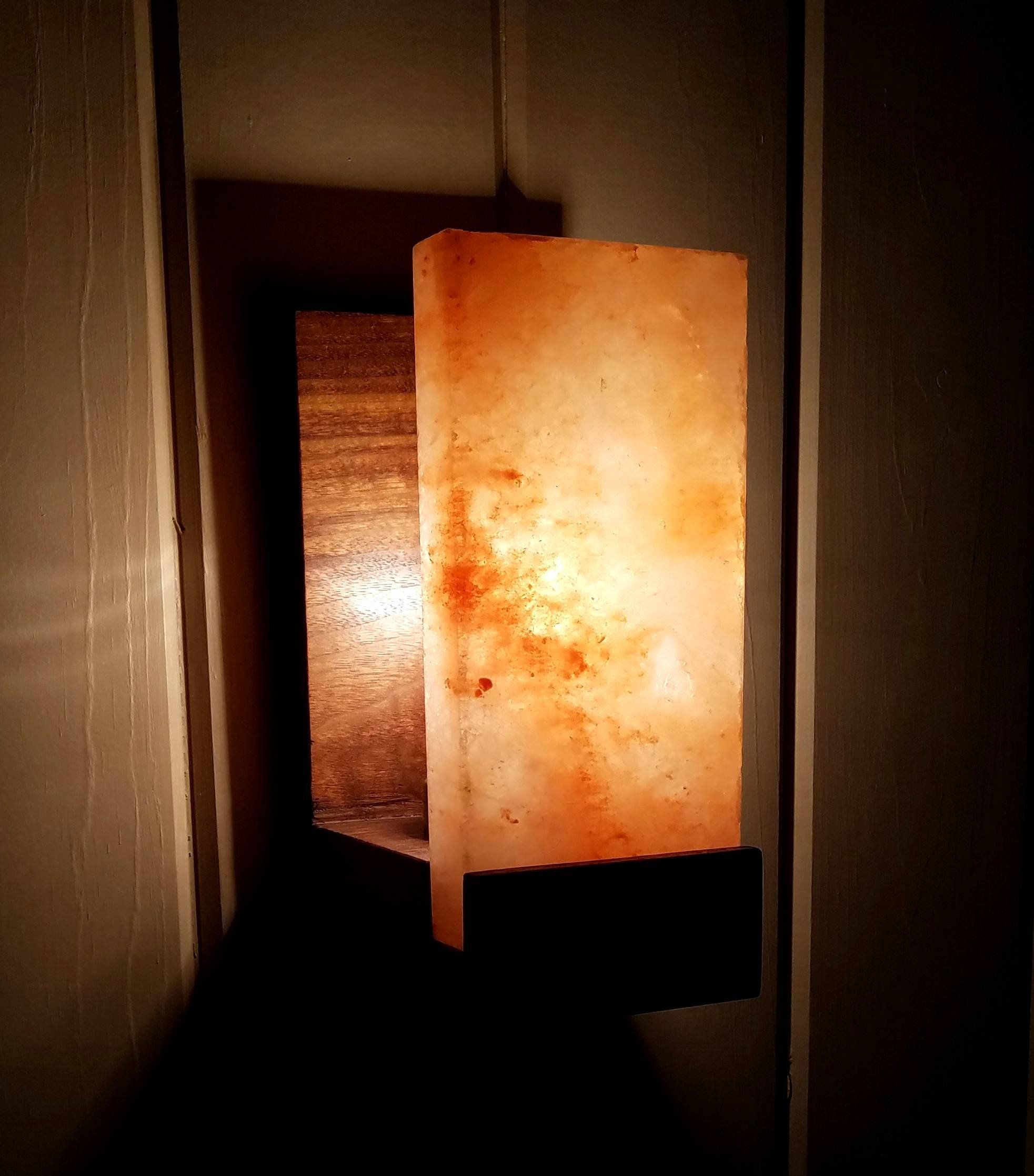 Himalayan Salt Lamp Sconce Black Walnut Sconce Etsy In 2020 Salt Lamp Sconce Lamp Himalayan Salt Lamp