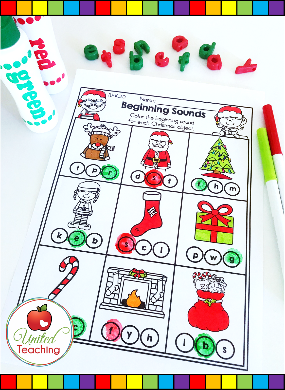 Reinforce Beginning Sounds With This Cute Christmas No Prep Worksheet Children Identify The