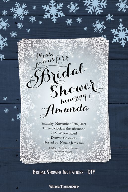 snowflake bridal shower invitation winter silver white