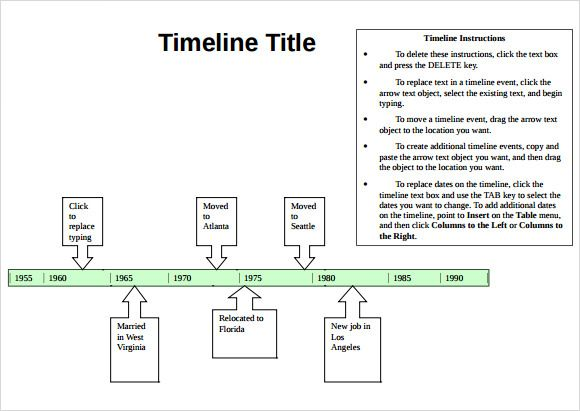 Simple Timeline Template Word  Tijdlijn Marnix