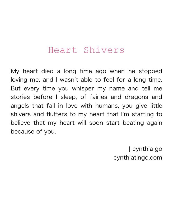 Heart Shivers - quotes on moving on, letting go, hope, love, falling in love