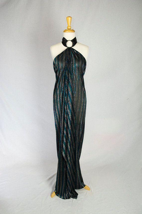Vintage 70s Lurex Disco Wrap Dress Glam Metallic By Madvintage
