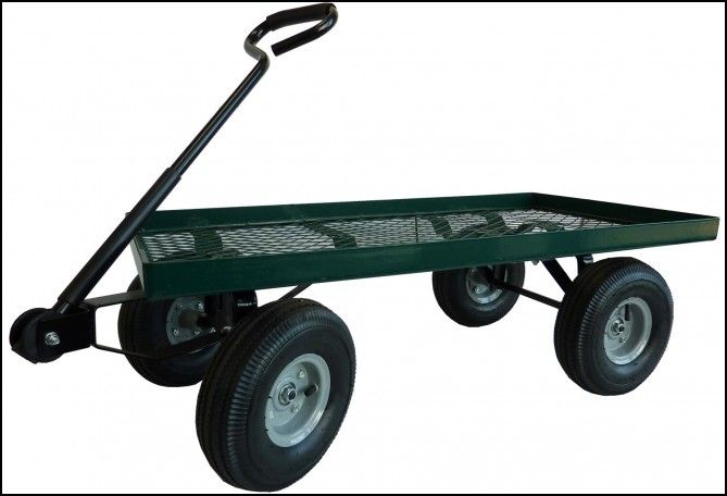 Green Garden Cart With Pneumatic (air Filled) Tires And Steel Frame Air  Filled I