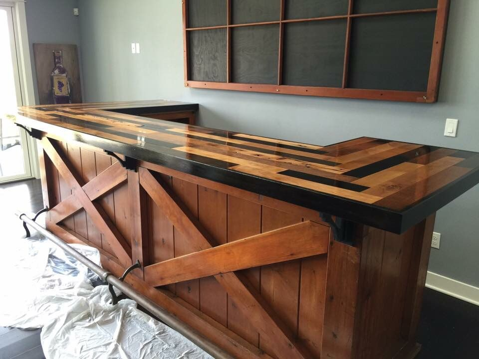 Custom bar top, worm wood from port of Seattle docks. Port Orchard, WA