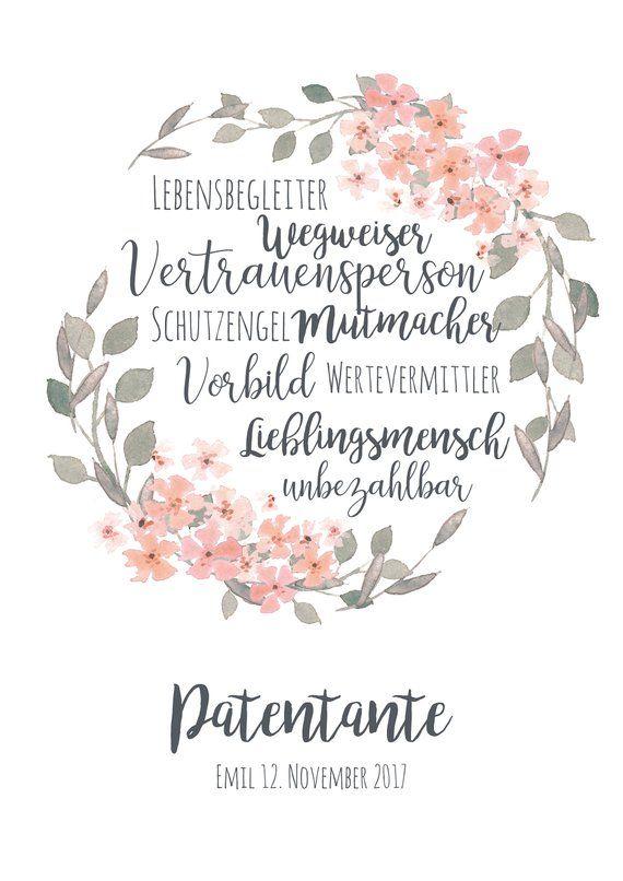 Artprint Patentante // Blumenkranz / Taufe #greatnames