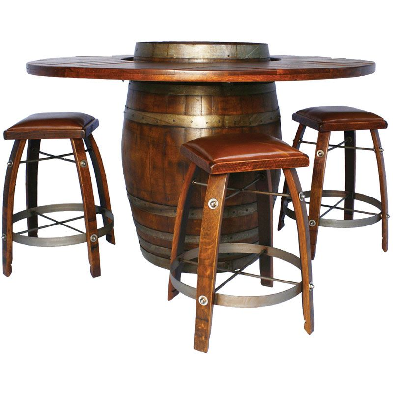 High Quality The Wine Barrel Bistro Table Set Features Our Most Popular Bar Table With 4  Matching Bar Stools. The Table Is Handcrafted From An Actual Wine Barrel  And ...