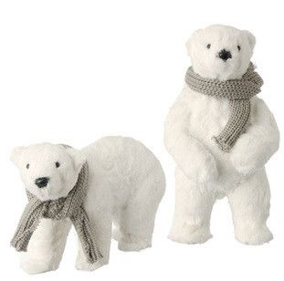 raz imports polar bears set of 2 raz exclusive white christmas decorations - Polar Bear Christmas Decorations
