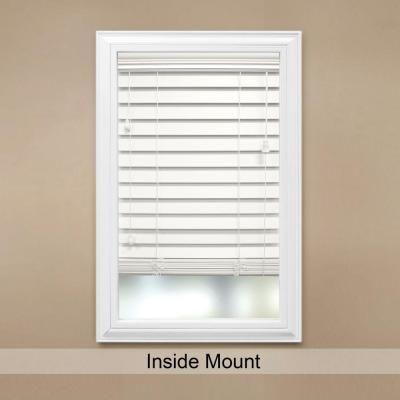 Home Decorators Collection White 2 1/2 In. Premium Faux Wood Blind   72 In.  W X 64 In. L (Actual Size 71.5 In. W X 64 In. L )