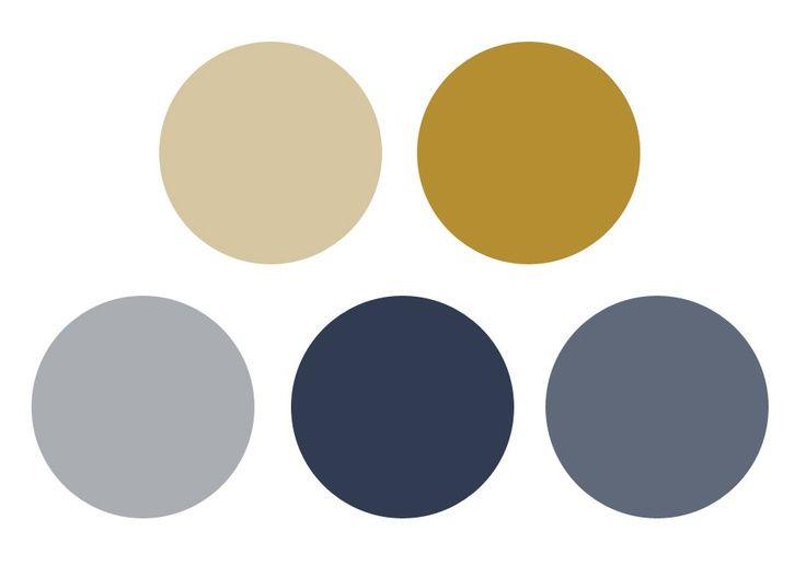 Best Gray Blue And Mustard Gold ロフトのベッドルーム、部屋の色、インテリア カラー 400 x 300