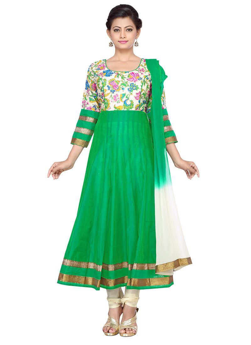 bb5f19ebde Off White N Green Silk Cotton Anarkali Suit