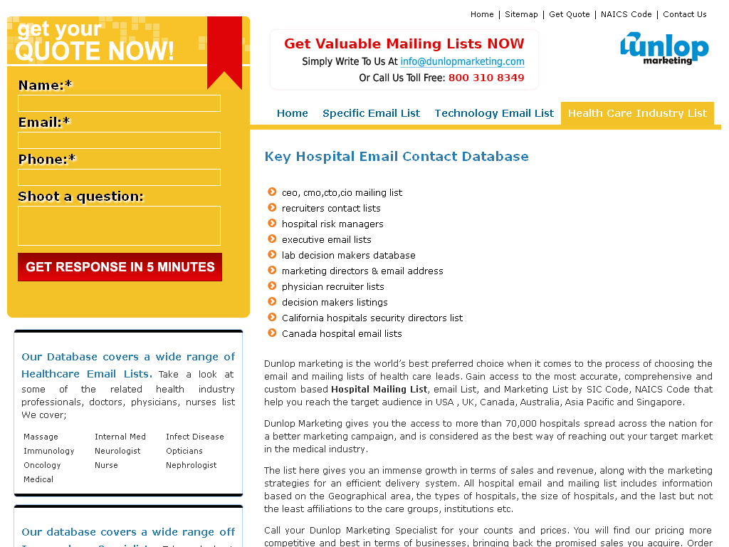 Hospital executives contact database - An accurate hospital