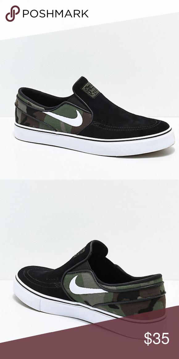 cd6d0b1d9eb655 Nike SB Janoski Black   Camo Slip-On Skate Shoes  New no box ...
