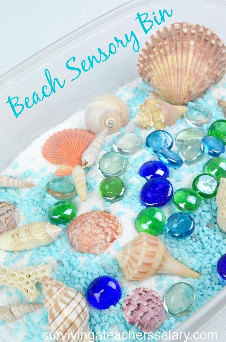 Ideas on how to make a beach sensory bin for preschool