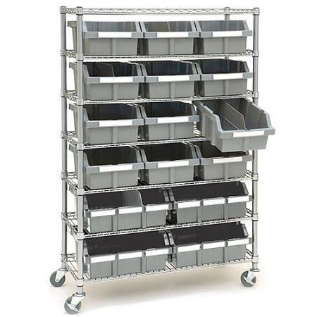 Commercial 7 Tier Platinum Gray Nsf 16 Bin Rack Storage System 14 Quot D X 36 Quot W X 56 Quot H By Seville
