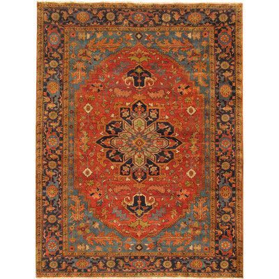 Pasargad Serapi Hand Knotted Rust Navy Area Rug Rug Size Rustic Area Rugs Area Rugs Navy Area Rug