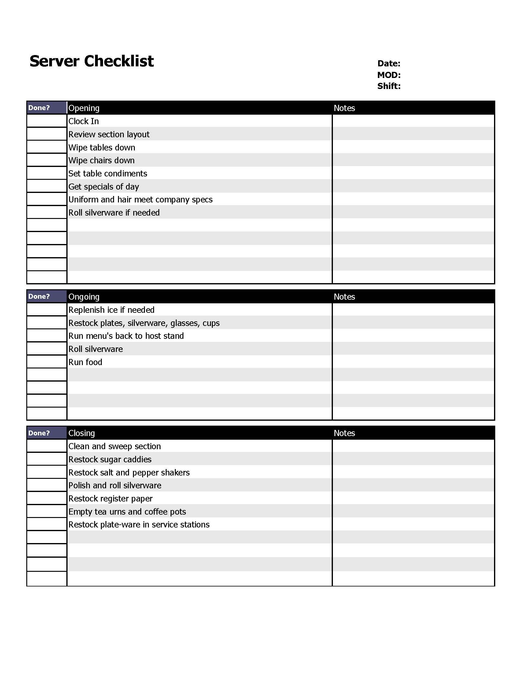Restaurant server checklist form.