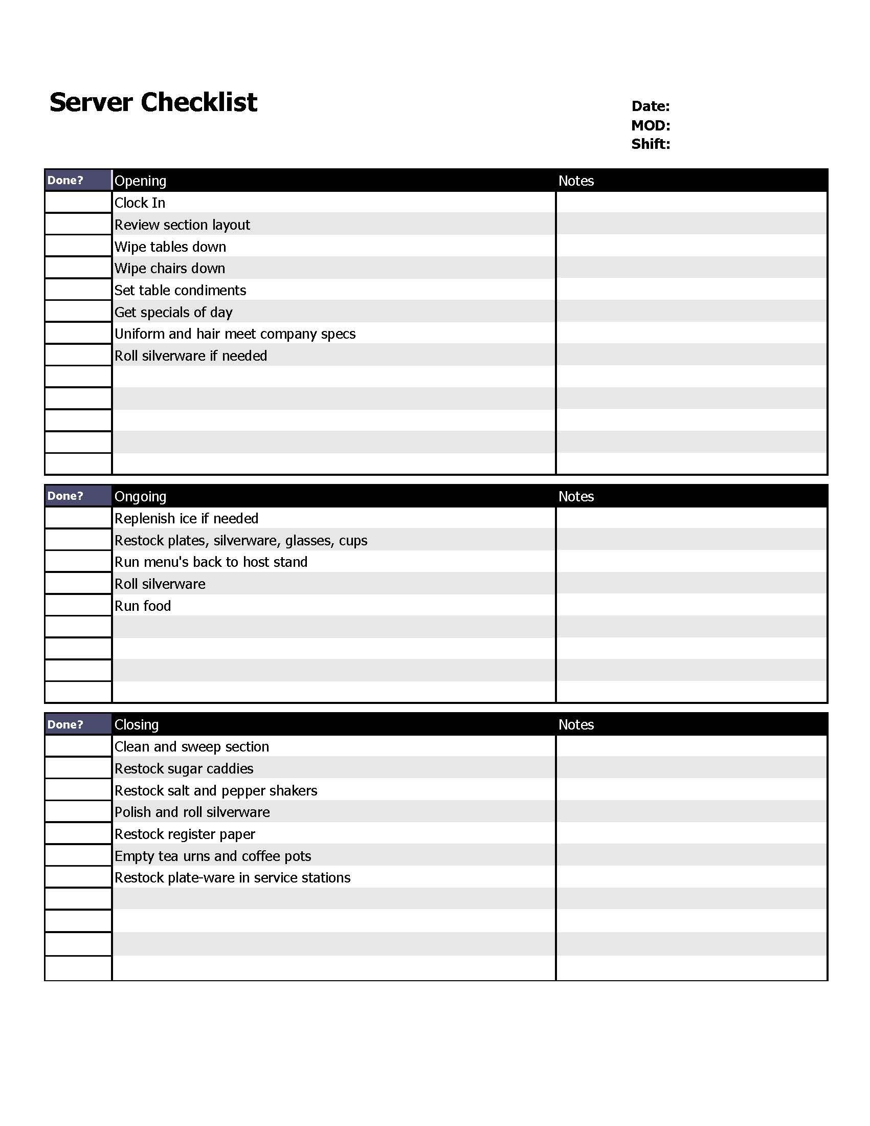 Restaurant server checklist form. Restaurant cleaning