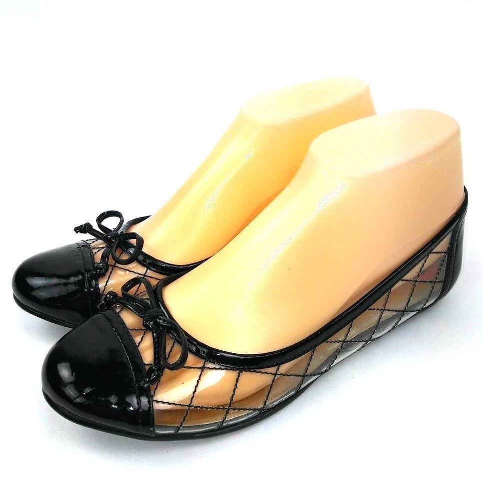 4a1bd0cedbc Nine West Womens Lellman Ballet Flats Size 6 Black Clear Slip On  NineWest   BalletFlats