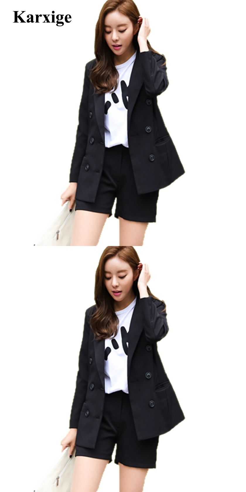 3c201c36bca 2017 Fashion Tide Simple Korean Version Double Breasted Buckle Two Sets  Slim Shorts pant jacket Women Suit sweet lady office