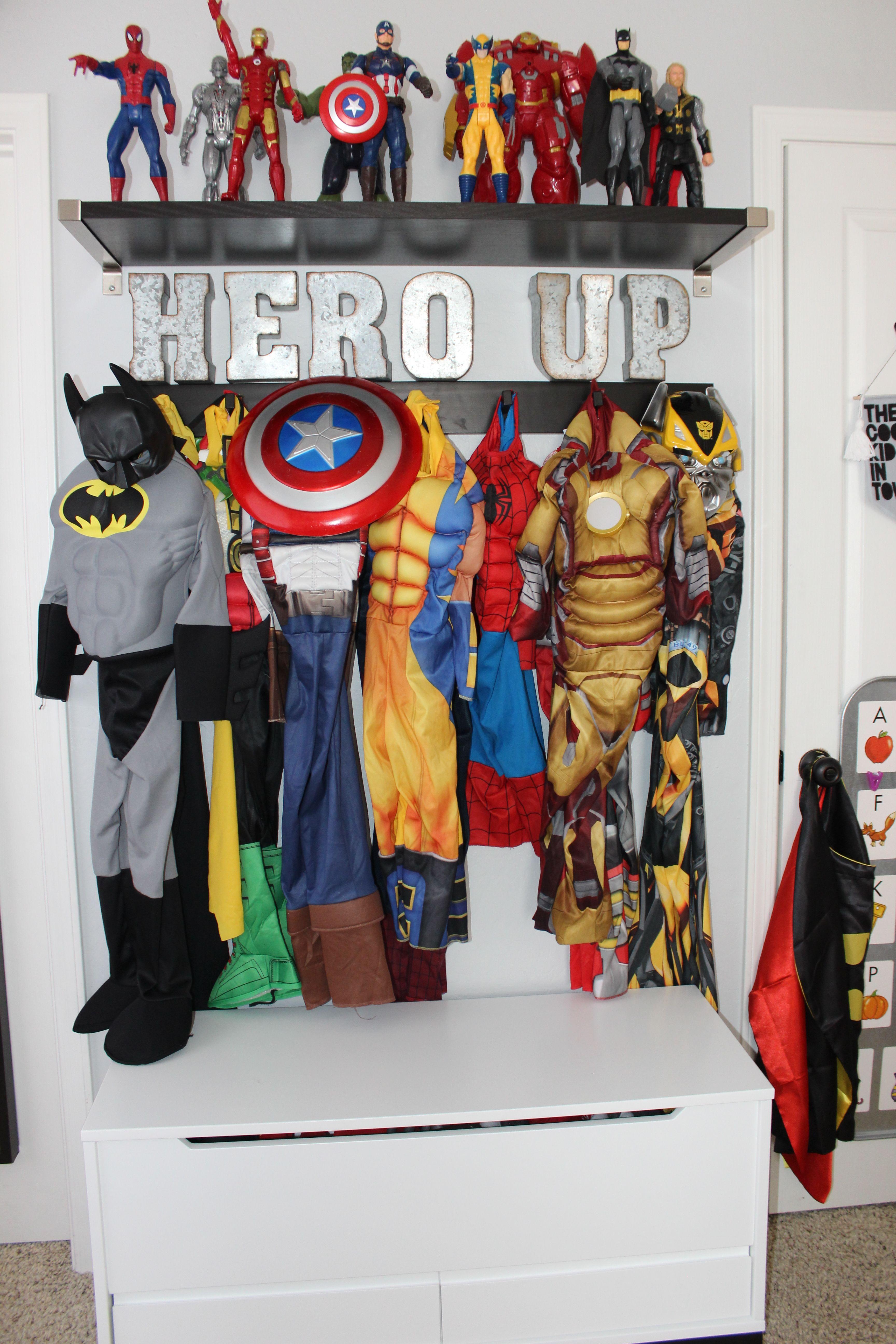 Boys Room Superhero Costume Display Organization Ikea And Land Of Nod Superhero Boys Room Superhero Room Cool Kids Rooms