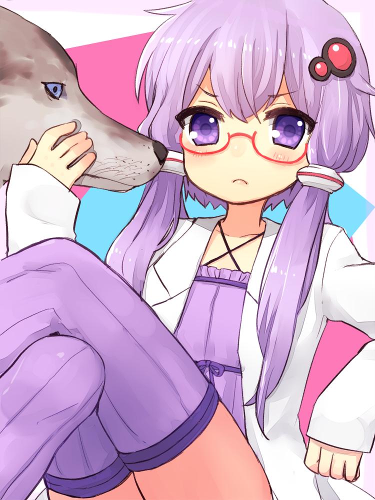 1girl animal glasses long_hair purple_hair sad_fuka solo thigh-highs violet_eyes vocaloid yuzuki_yukari