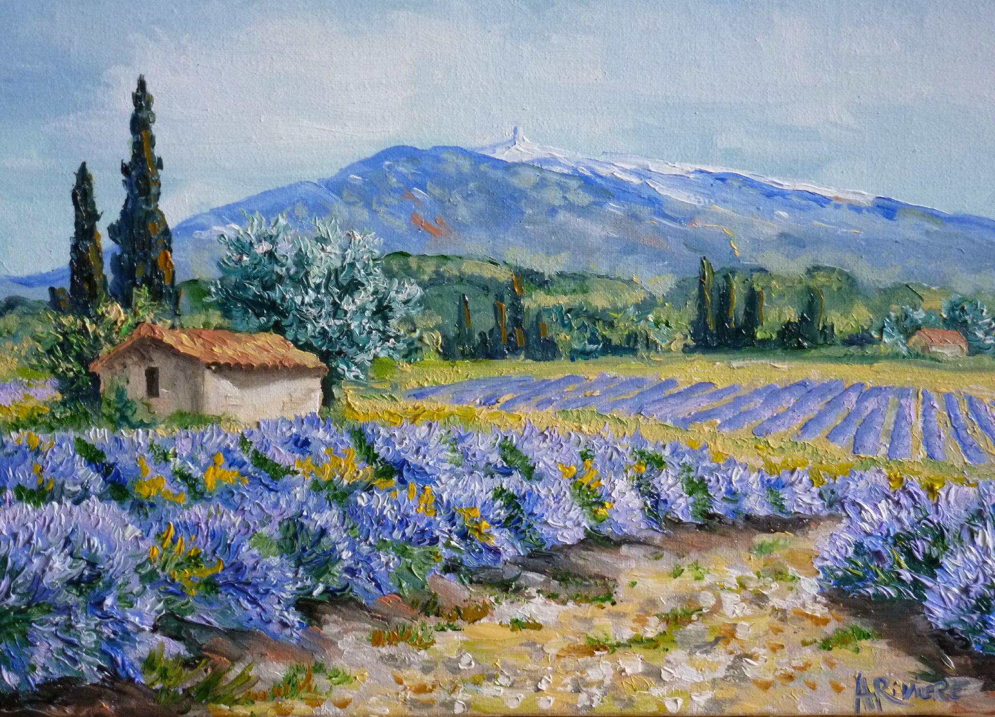 Quote Des Artistes Peintres format 4f (33x24) lavandes et mont ventoux. prix: 170