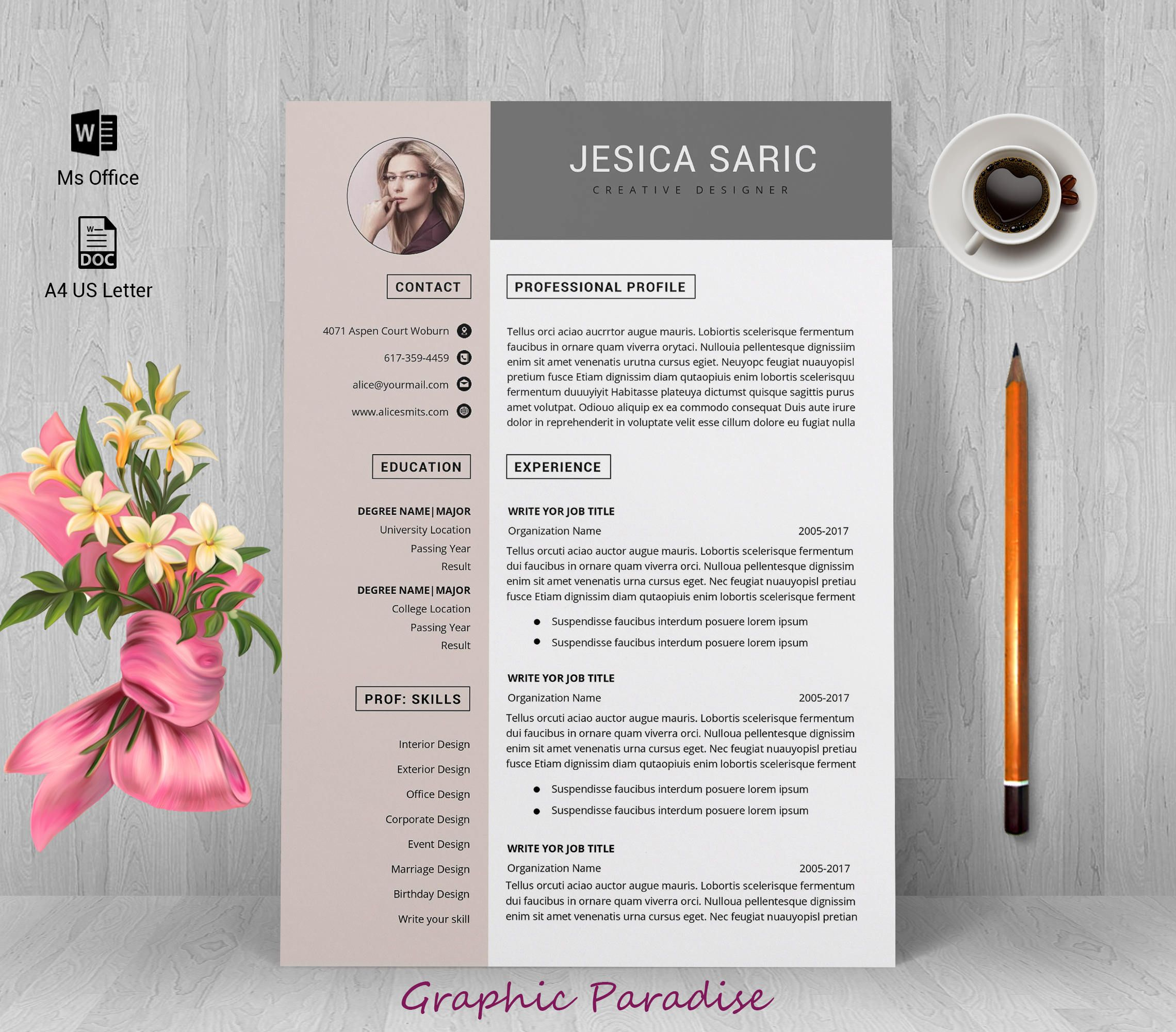 Professional resume template instant download, resume template, 3 ...