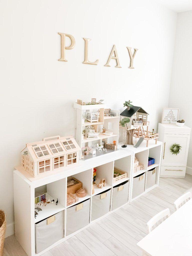Photo of Montessori Themed Playroom Storage and Toy Organization, Des…
