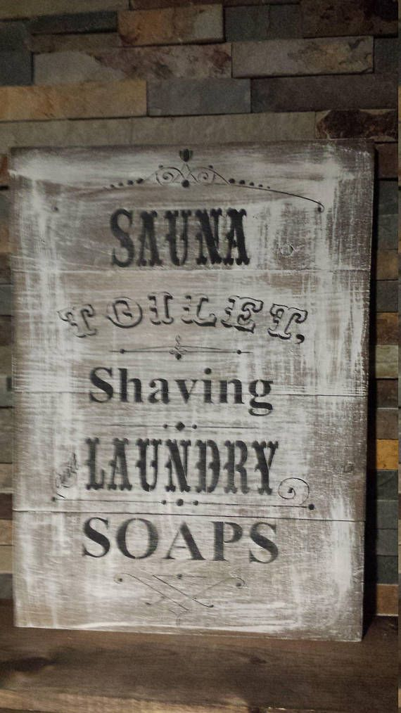 Vintage Bathroom Sauna Sign Cottage Signs