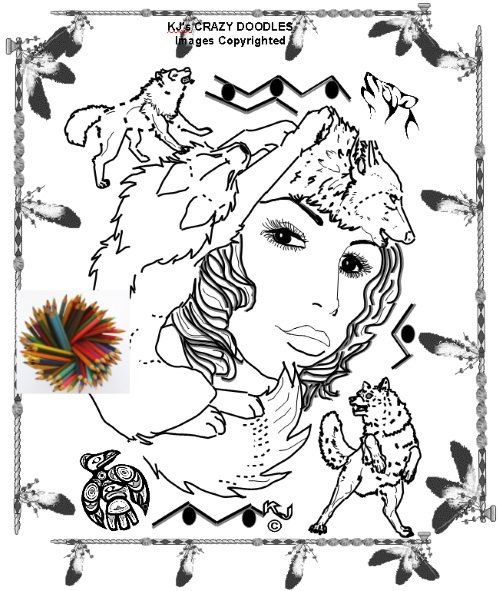 WOLF WOMAN COLORING Page for Adults and More Advanced