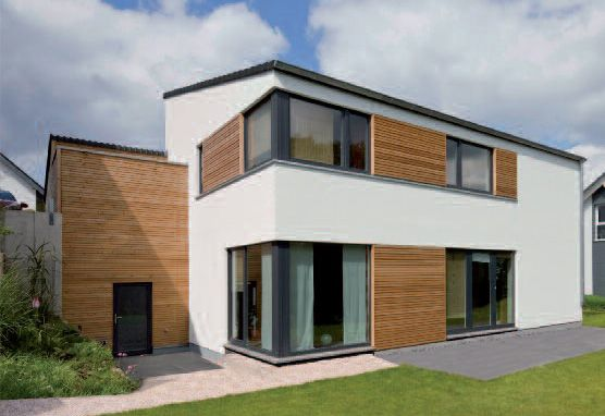 neubau individuelles holzrahmenbau fertighaus hanglage skandinavian pinterest haus. Black Bedroom Furniture Sets. Home Design Ideas
