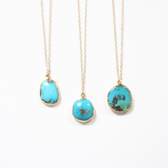 94d3bb7ddc26f Turquoise Stone Necklace in Gold / Minimalist Boho Jewelry ...
