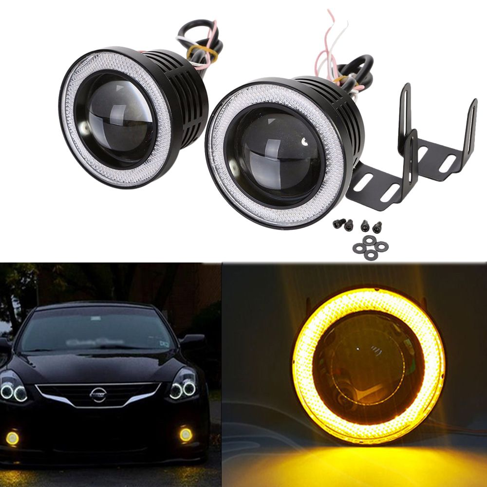 2x 2 5 Inch 64mm 3200lm Round Led Cob Projector Fog Light With