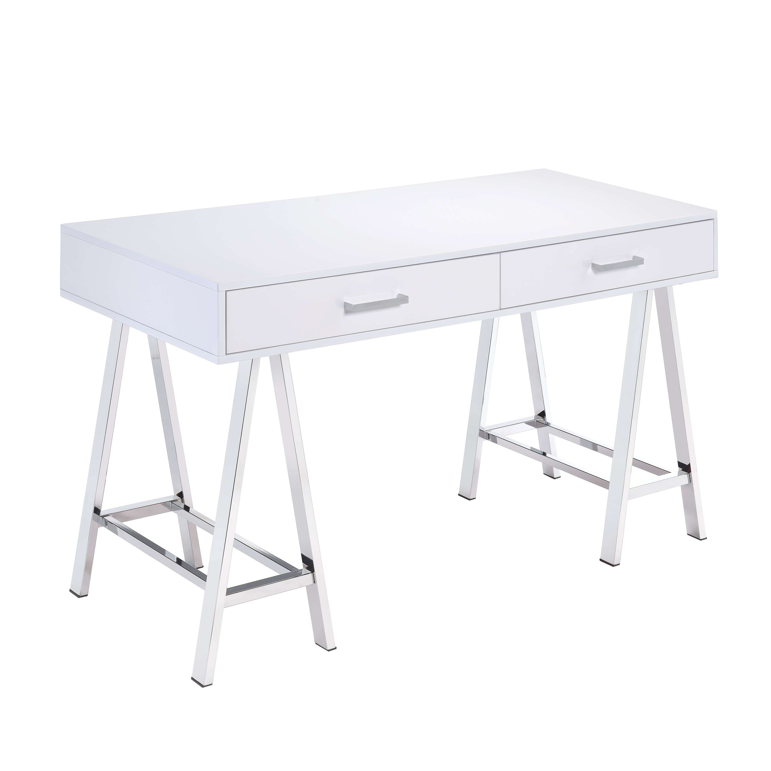 Rectangular Two Drawers Wooden Desk with Saw horse Metal